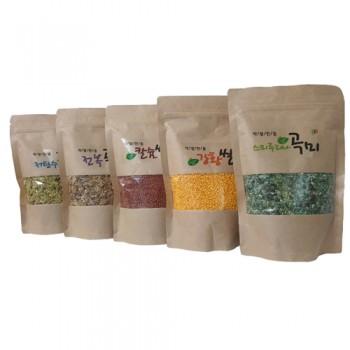 [스피루리나팜스] 스피루리나 곡미, 강황쌀, 전복 곡미, 칼슘쌀, 저탄수곡미 5종(각 400g/1봉지) + 스피루리나/강황/전복칼슘 소금 3종(각 220g/1봉) 묶음 기획상품